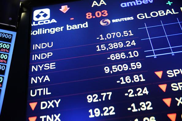 Una pantalla en la bolsa de Nueva York (NYSE) muestra el promedio industrial Dow Jones subiendo brevemente (Foto de Spencer Platt/Getty Images)