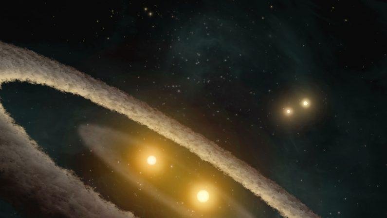 Representación artística del sistema estelar HD 98800. Crédito: NASA/JPL-Caltech/T. Pyle (SSC).