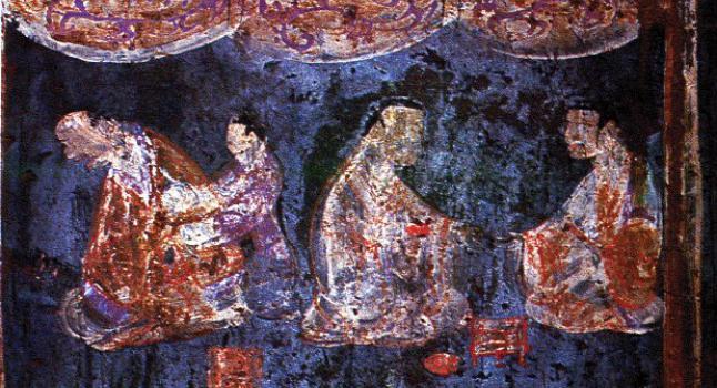 Detalle de un mural de una tumba Han del Este (25-220 d.C.) en Zhucun, Luoyang, provincia de Henan, China. La pintura utiliza pigmentos azules Han y púrpuras Han. (Wikimedia Commons)