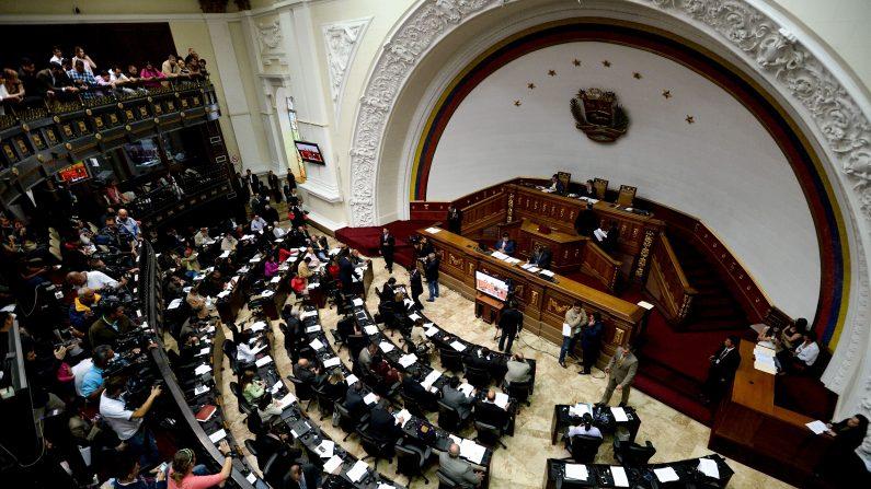 Vista general de la Asamblea Nacional controlada por la oposición durante una sesión en Caracas (Venezuela) el 28 de enero de 2016. (FEDERICO PARRA / AFP / Getty Images)