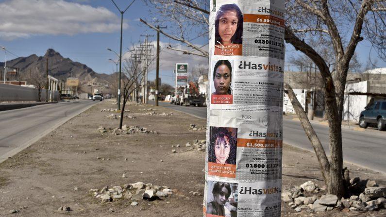 Los carteles con imágenes de chicas desaparecidas están en un poste en una calle de Ciudad Juárez, México, el 2 de febrero de 2016. Cientos de madres que buscan a sus hijas, víctimas de la ola de violencia que afectó a la ciudad fronteriza de Ciudad Juárez esperar a que el Papa Francis y la demanda para reunirse con él (Photo credit should read YURI CORTEZ / AFP / Getty Images)