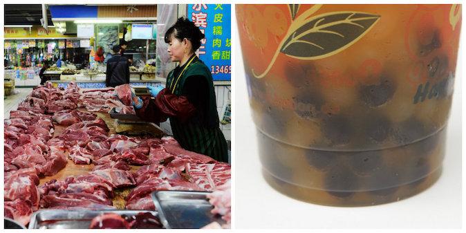 (Izquierda) una vendedora vende carne en la provincia Qingdao, al este de china, y (en la derecha) perlas de té con goma. (STR / AFP / Getty Images y Sean Gallup / Getty Images)