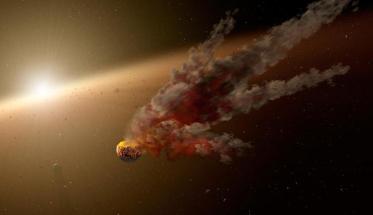 Representación artística de un asteroide viajando en el espacio. Foto: Wikimedia Commons.