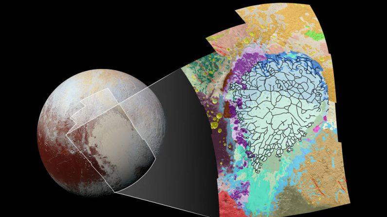 Este mapa de la característica en forma de corazón de Plutón utiliza colores para representar terrenos variados de Plutón, que ayuda a los científicos comprender los procesos geológicos complejos del planeta.(Foto: NASA/JHUAPL/SwRI)