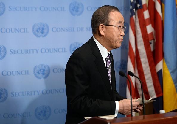 Secretario General de Naciones Unidas, Ban Ki-moon habla a la prensa en la ONU Nueva York 06 de enero de 2016 antes de una reunión del Consejo de seguridad sobre Corea del norte (Foto: TIMOTHY A. CLARY/AFP/Getty Images)