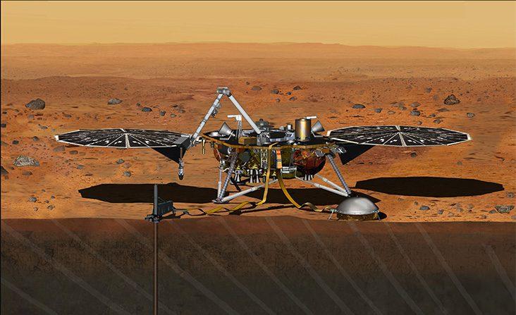 Esta concepción artística muestra el módulo de aterrizaje Insight fijo en Marte. (NASA / JPL-Caltech)