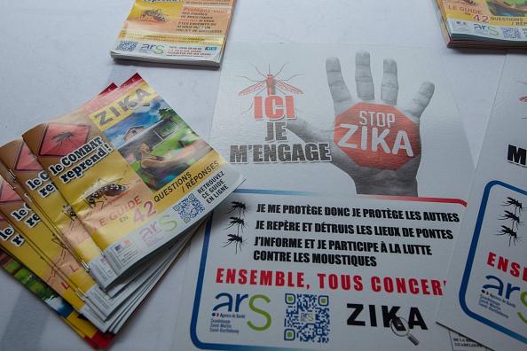 Carteles durante el lanzamiento de la campaña para luchar contra el virus zika en Petit-Bourg, en la región francesa (crédito de foto debe leer HELENE VALENZUELA/AFP/Getty Images)