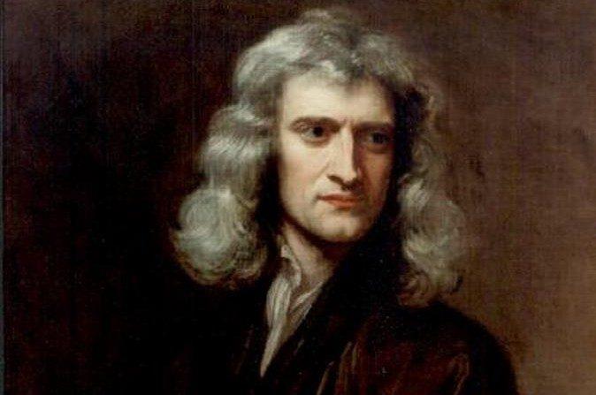Sir Isaac Newton, 1689, Caballero Gottfried Kneller. (Dominio público, PD-old-100)