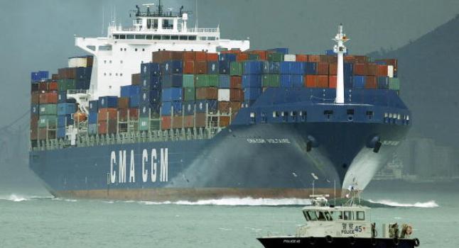 Barco con contenedores chinos en el Río de la Plata. (PETER PARKS / AFP / Getty Images)