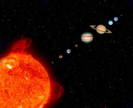 Recreación del Sistema Solar. En orden: Mercurio, Venus, Tierra, Marte, Júpiter, Saturno, Urano, Neptuno y Plutón. (Steve Allen)