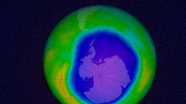 Agujero de Ozono en la Antártida el 22 de octubre de 2015. NASA