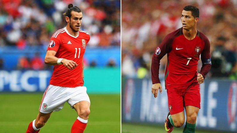 En esta imagen compuesta se ha hecho una comparación entre Gareth Bale de Gales (Izq.) y Cristiano Ronaldo de Portugal. Gales y Portugal se enfrentan en la semifinal de la EURO2016 en el Stade des Lumières el 6 de julio de 2016 en Lyon, Francia. (Stu Forster / Getty Images // Lars Baron - Getty Images)