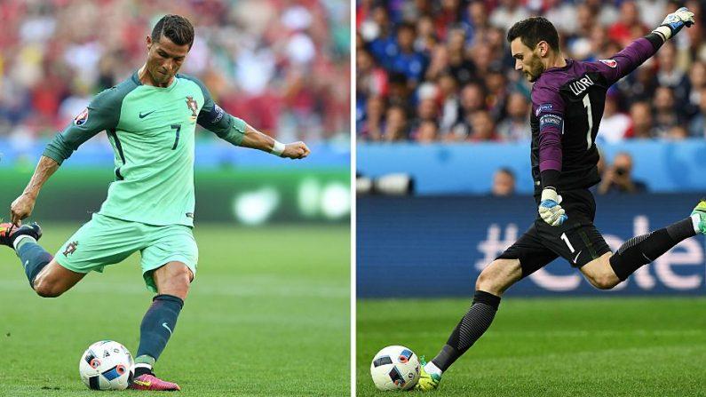 El delantero y capitán de Portugal Cristiano Ronaldo (Izq.), y el portero y capitán de Francia Hugo Lloris. Ambos equipos se enfrentarán en la final de la Euro 2016 en el Stade de France en Saint-Denis, al norte de París, el 10 de julio de 2016. (FRANCISCO Leong, FRANCK FIFE / AFP / Getty Images)