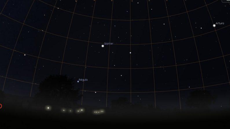 Júpiter y las estrellas Regolo y Arturo. (Stellarium)