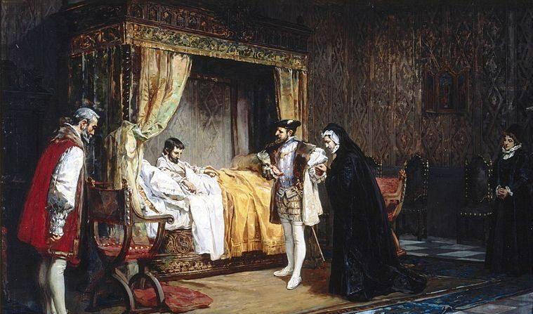 """Extracto de la obra """"La duquesa de Alençon es presentada a su hermano, el rey de Francia Francisco I, por el emperador Carlos V"""", del artista Manuel Arroyo y Lorenzo. (Wikimedia Commons)"""