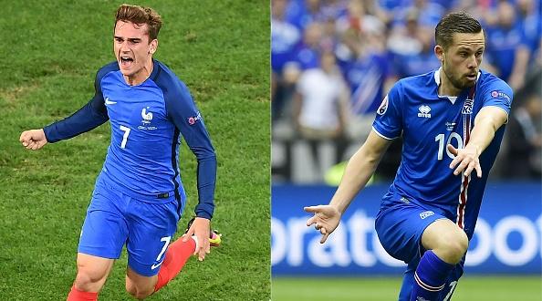 Eurocopa 2016: El delantero francés Antoine Griezmann (Izq.) celebra después de anotar en el partido entre Francia y Albania. A su derecha, el centrocampista de Islandia Gylfi Sigurdsson en acción durante el partido entre Islandia y Austria. Francia se enfrentará a Islandia en los cuartos de final de la EURO 2016, el 3 de julio de 2016 en el Stade de France de Saint-Denis, cerca de París. (ANNE-CHRISTINE POUJOULAT, TOBIAS SCHWARZ / AFP / Getty Images)
