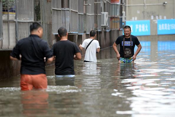 Inundaciones en la provincia de Hebei, el 21 de julio de 2016 cuando se encubrían los hechos por parte de funcionarios del régimen comunista. Foto: STR (Getty Images)