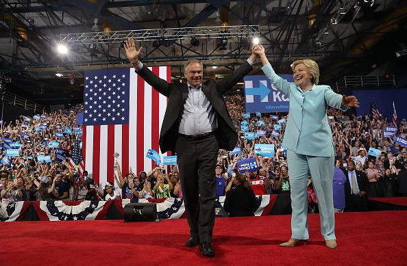 Anuncio público del Senador Tim Kaine como compañero de fórmula de Hillary Clinton el 23 de julio de 2016. Foto: Justin Sullivan/Getty Images