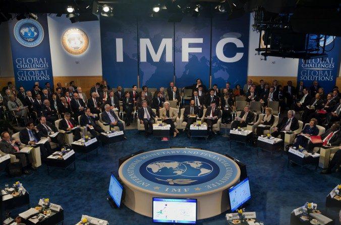 Fondo Monetario Internacional, Christine Lagarde, Directora Gerente habla en el 40 aniversario de la reunión del CMFI en la sede del FMI en Washington, 20 de abril de 2013. (Stephen Jaffe / FMI a través de Getty Images)