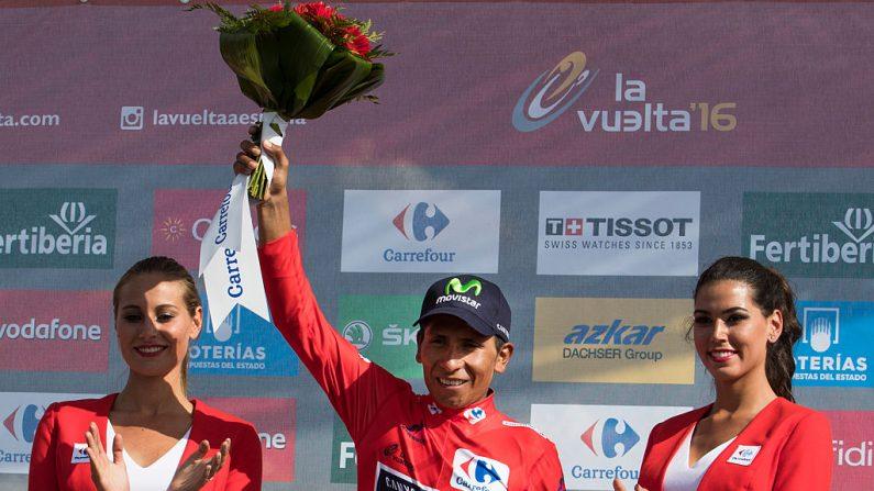 Ciclista colombiano de Movistar Nairo Quintana (crédito de foto debe leer JAIME REINA/AFP/Getty Images)