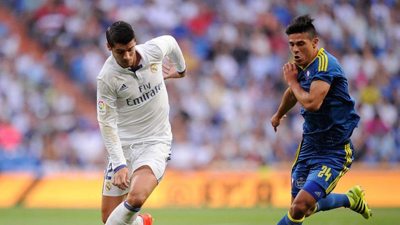 Alvaro Morata de Real Madrid contra Facundo Roncaglia del Celta de Vigo. (Foto de Denis Doyle/Getty Images)