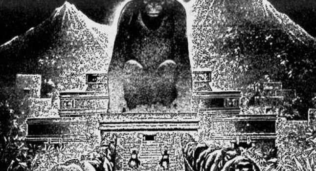 Dibujo que representa los relatos de la Ciudad del Rey Mono en Honduras. ( Virgil Finlay, Wikimedia Commons)