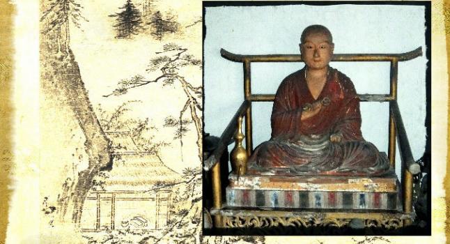 Foto de archivo de la estatua de un monje japonés. (Wolfgang Michel/Wikimedia Commons) Contexto: Un paisaje por Tensho Shubun. (Wikimedia Commons)