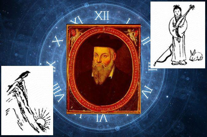 "Un retrato del famoso profeta francés del siglo XVI, Nostradamus, y dibujos proféticos del libro chino, ""Tui Bei Tu"". (Wikimedia Commons y Thinkstock)"