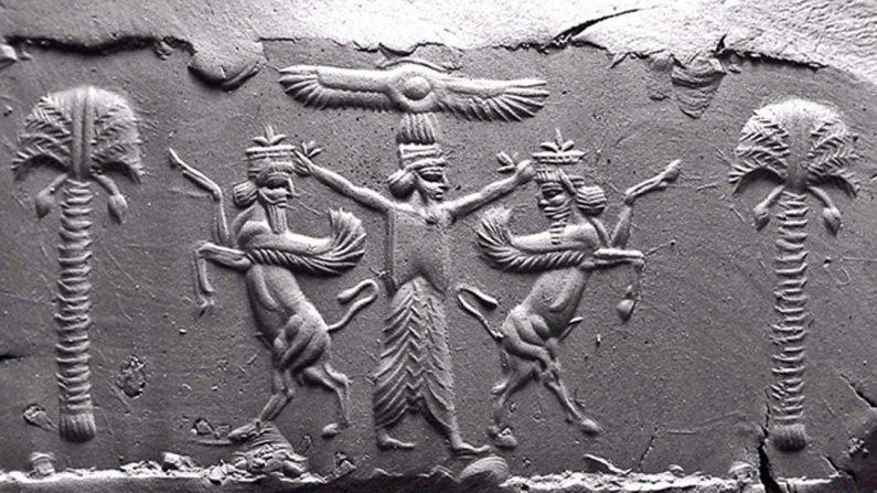 Moderna impresión en arcilla de un sello cilíndrico aqueménida del siglo V a. C. Un disco solar alado legitima al rey persa, quien somete a dos figuras lamassu mesopotámicas rampantes. (Dominio público)