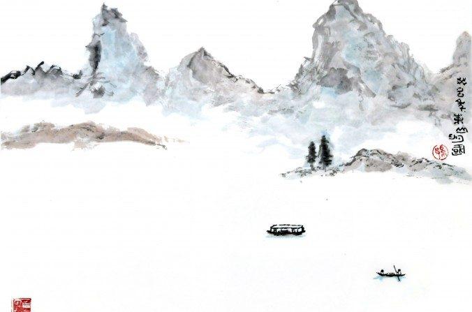 Pintura de un paisaje de China. (Sun Mingguo/La Gran Época)