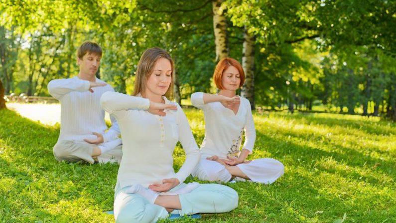 Personas practicando la meditación de Falun Dafa.