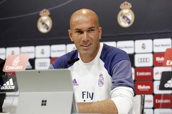 Zinedine Zidane del Real Madrid en conferencia de prensa.(Angel Martinez/Real Madrid via Getty Images)