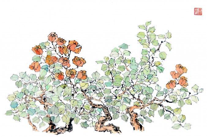 Pintura de flores chinas por Sun Mingguo/La Gran Época.