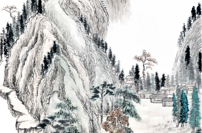 Pintura de un paisaje chino por Sun Mingguo/La Gran Época