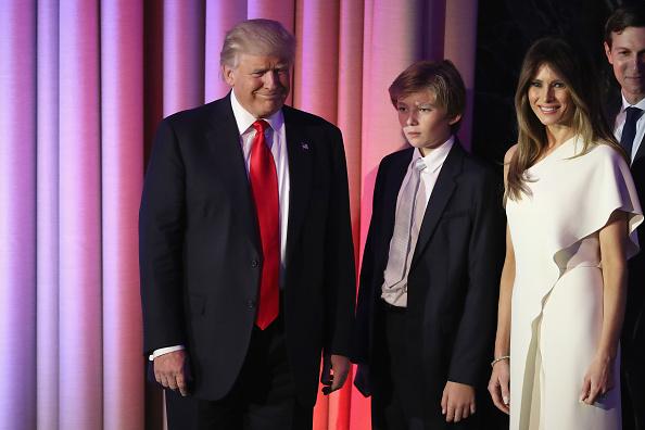 Donald Trump junto a su familia. Foto:  Joe Raedle/Getty Images