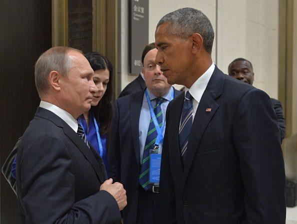 El presidente ruso, Vladimir Putin (Izq.) con su homólogo estadounidense, Barack Obama, en el marco de la Cumbre de Líderes del G20 en Hangzhou, el 5 de septiembre de 2016. (ALEXEI Druzhinin / AFP / Getty Images)