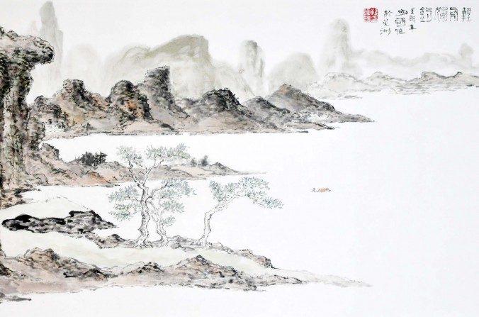 Paisaje en tinta china de Sun Mingguo/La Gran Época