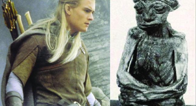 """Izquierda: Un personaje elfo en """"El señor de los anillos"""", Legolas, en la película de Peter Jackson. Derecha: una momia encontrada en las montañas de San Pedro en Wyoming que algunos creen pertenece a un elfo. (Wikimedia Commons)"""