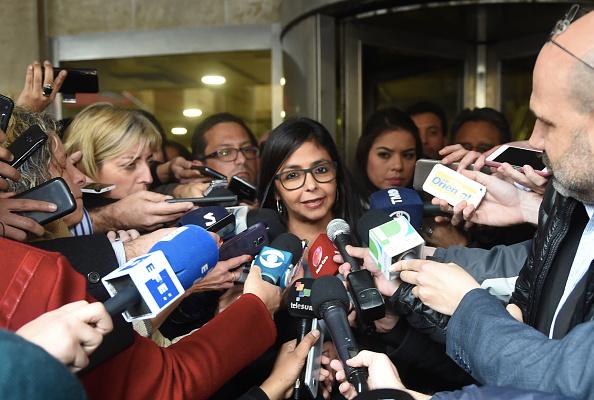 Ministra de Relaciones Exteriores de Venezuela, Delcy Rodríguez,tras una reunión con ministros de Relaciones Exteriores sobre Mercosur. (Foto: MIGUEL ROJO/AFP/Getty Images)