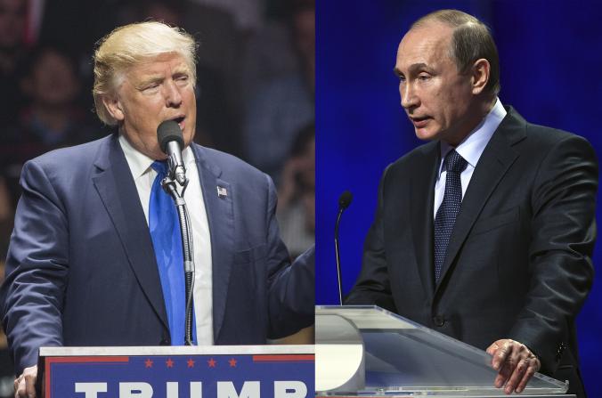 Donald Trump y Vladimir Putin. (Scott Eisen y Dennis Grombkowski / Getty Images)