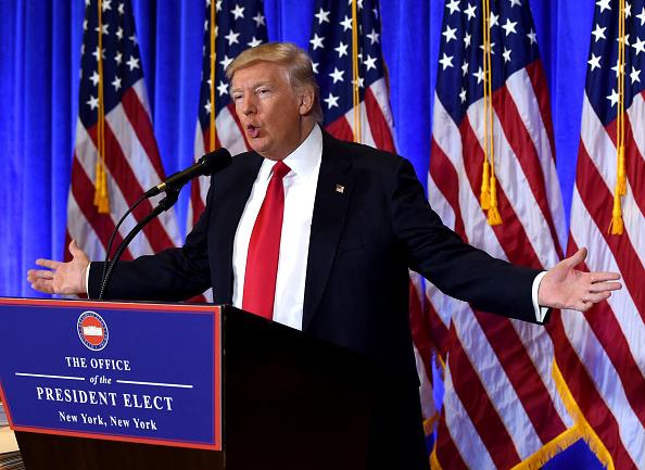 El presidente electo de Estados Unidos durante la conferencia de prensa, el 11 de junio de 2017 en la Trump Tower de Nueva York, Estados Unidos. (TIMOTHY A. CLARY/AFP/Getty Images)