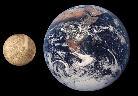 Mercurio comparado con la Tierra. Imagen: Wikipedia