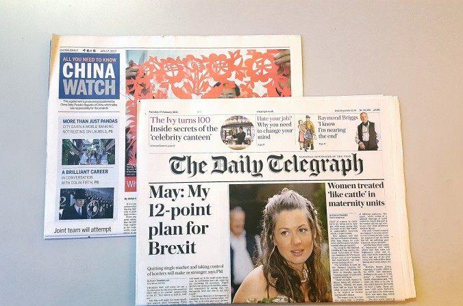 El periódico Daily Telegraph del Reino Unido publicó el suplemento de China Watch el 17 de enero de 2017. (Jane Grey / La Gran Época)