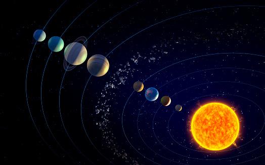 Imagen de archivo de la NASA de los planetas del Sistema Solar.