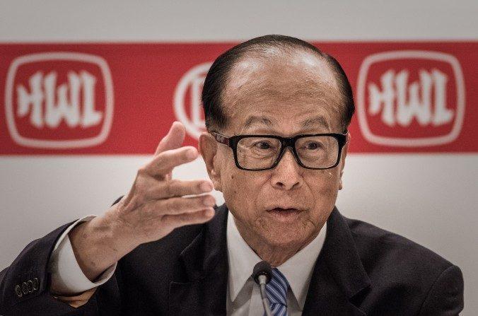 Li Ka-shing, magnate de Hong Kong, en una conferencia de prensa en Hong Kong el26 de febrerode 2015. El19 de febrerode 2017, Li declinó apoyar públicamente a un candidato para las elecciones de jefe ejecutivo de Hong Kong en marzo. (Philippe López / AFP / Getty Images)