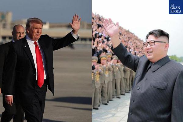 El presidente de Estados Unidos, Donald Trump (Izq.), y el mandatario de Corea del Norte, Kim Jong-un (Der.). (La Gran Época)