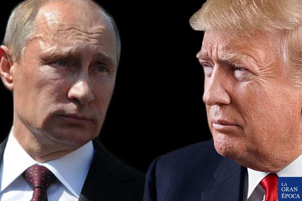 El presidente de Estados Unidos, Donald Trump (Der.) y su par ruso, Vladimir Putin (Izq.). (La Gran Época)