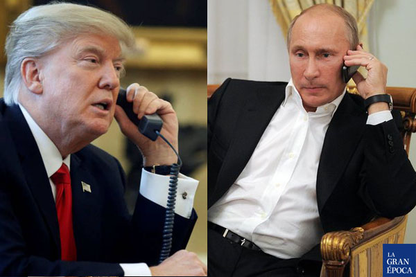 El presidente de Estados Unidos, Donald Trump (Izq.) y su par ruso, Vladimir Putin (Der.). (La Gran Época)