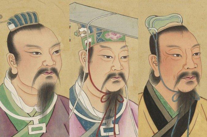 (De izquierda a derecha) El Emperador Yao, el Emperador Shun y el Emperador Yu en retratos chinos de personas célebres del siglo XVIII en la Biblioteca Nacional de Francia. (Dominio público)