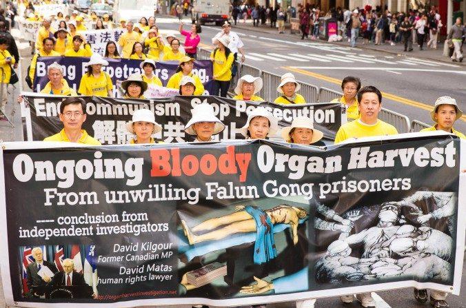 Practicantes de Falun Gong en una marcha con pancartas en alusión a la sustracción de órganos a los practicantes que aún sucede hasta la fecha en China. (Edward Dye/Epoch Times)